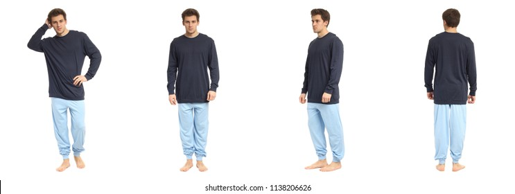 An image of a handsome man in blue pajamas