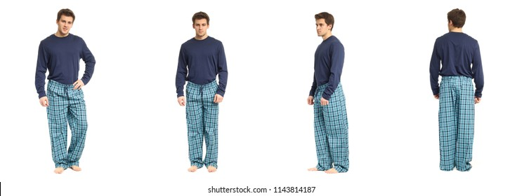 An image of a handsome man in checkered pajamas