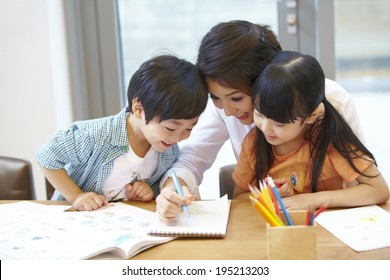 the image of a happy Asian family coloring