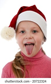 An image of happy girl in red christmas hat