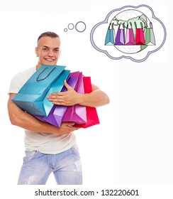 Image of happy man with bags who is thinking about worldwide shopping