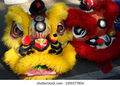 Image the head-mask of Lions as a part of Barongsai dancer outfits.