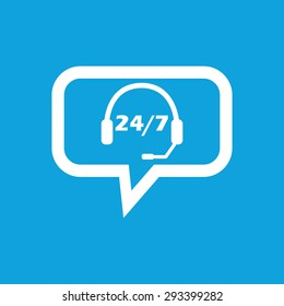 Image of headset with workhours in chat bubble, isolated on blue