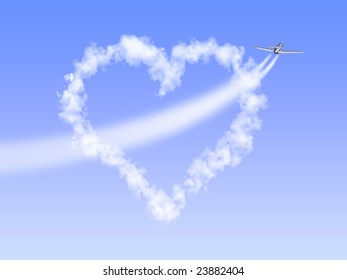 The image of heart as clouds through which has flown by the plane, having left a trace as arrow.