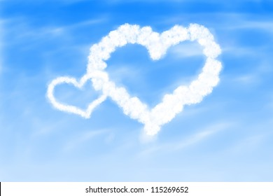 Image of hearts in the blue sky against a background of white clouds.