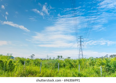 image of high voltage electric wire blue sky and white cloud background .