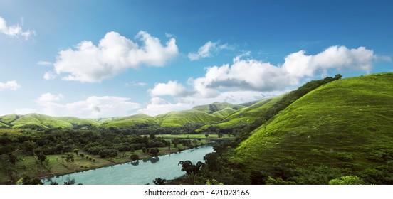 Image of hills panorama landcape on sumba island, indonesia