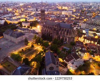 Image of historical aerial view of Limoges Cathedral illuminated at dusk, France