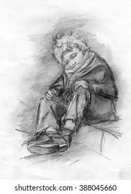 Image homeless sleeping boy. Pencil drawing.
