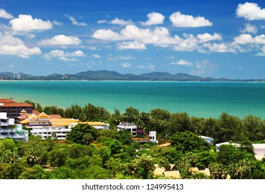 Image of hotels in tropics and sea