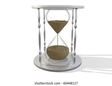 Image of an hour glass with sand isolated on a white background.