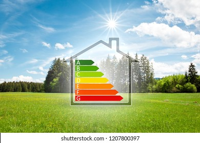 An image of a house in the green with energy efficiency graph