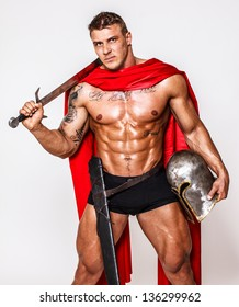 Image of huge warrior in red mantle