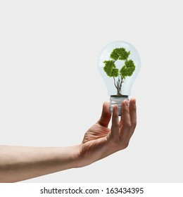 Image of human hand holding bulb with recycle symbol inside