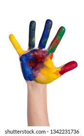 Image of human hands in colorful paint with smiles ,Isolated on white background