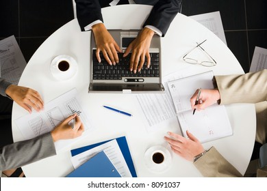 Image of human working hands at business meeting