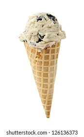 An image of an ice cream cone cookie flavored against white background