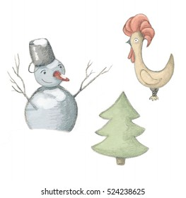 Image of icons with snowman, christmas tree and rooster