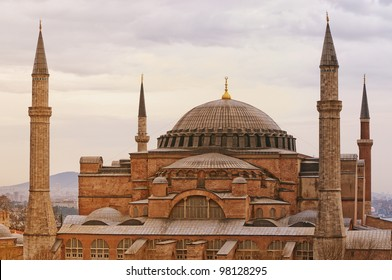 An image of the impressive hagia sophia mosque situated in the turkish city of istanbul.