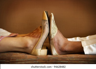 Image of Indian bride and groom's wedding shoes