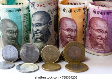 Image of Indian currency and coins