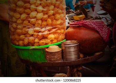 Image of an Indian famous street snacks item golgappe