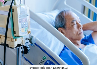 image of infusion pump with Elderly patients in hospital bed,Medical Care
