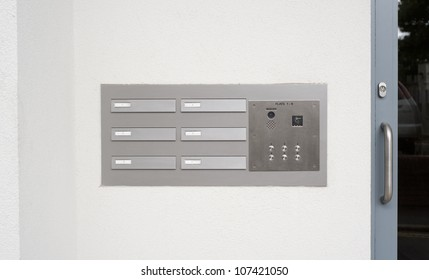 image of intercom doorbell and access code panel
