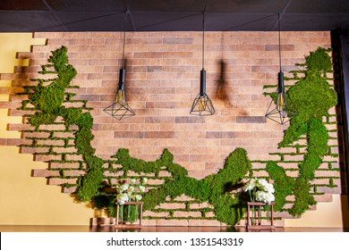 Image of the interior of the table in the cafe. Designer wall in the cafe decorated with decorative moss.