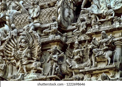Image of the intricate carvings sculptured on the entrance wall(gopuram) of the Lord Muruga temple in the temple town of Thiruchendur,Tamil Nadu,India