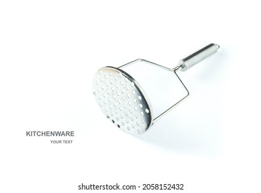 An image isolated cutout stainless the potato masher is a kitchen  steel handle white background.