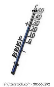 An image of an isolated simple thermometer