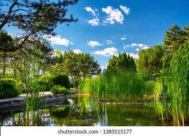 Image of Japanese Garden located on Margit Island of Budapest, Hungary during sunny summer day