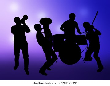 Image of a jazz band. Bright glowing background.