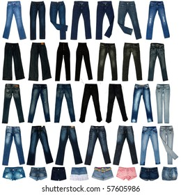 The image of jeans trousers, shorts, the skirts isolated against