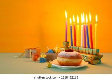 image of jewish holiday Hanukkah background with menorah (traditional candelabra)
