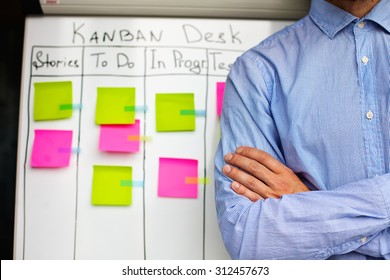 Image of kan ban desk to do list board kanban with post-it notes.Japanese Kanban Concept as an example for a modern project management methodology. Business man on the background of kanban desk.