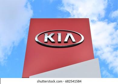 An image of a KIA logo - Bielefeld/Germany - 07/23/2017