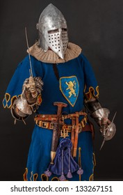 Image of knight who is posing on a black background