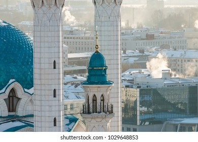 Image of Kul Sharif mosque. Kazan city, Tatarstan, Russia. Beautiful and sophisticated mosque in sunset light. Minarets looking to the sky. The mosque is located inside the ancient Kremlin