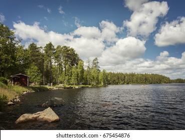Image of lake Hyllsjo in Smaland, Sweden.