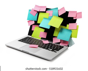 Image of laptop full of colorful sticky notes reminders on screen isolated on white. Work overload concept image