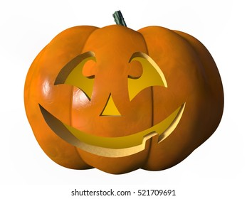 Image of a laughing Halloween pumpkin. The object is isolated on a white background. 3d Rendering.
