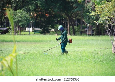 The image of lawnmower Man working on the garden