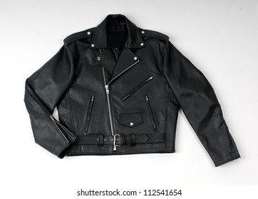 The image of a leather jacket isolated against.