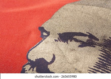 The image of Lenin on a red banner