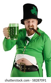 An image of a Leprechaun drinking green beer on St. Patricks Day.