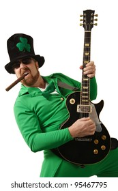 An image of a Leprechaun playing electric guitar.