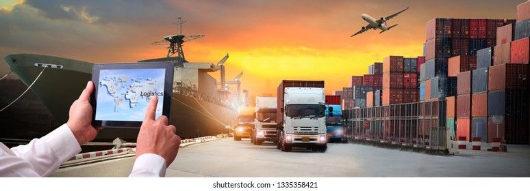 image of the logistics, there are container truck, ship in port and airplane for import export industry