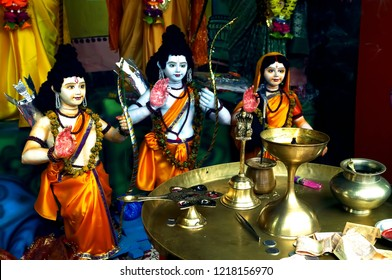 Image of Lord Rama along with Goddess Sita and Lord Lakshman in an Indian temple located in the Indian city of Nashik,Maharashtra